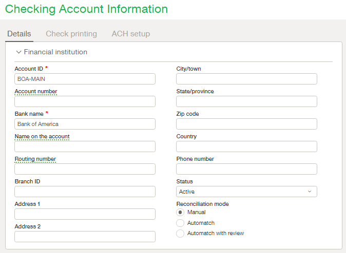 Sage Intacct Checking Accounts - Checking Account Info